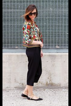 Colorful Floral Print 3/4 Sleeve Coat BLACK: Jackets & Coats | ZAFUL