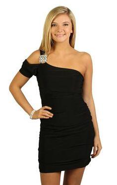 chunky rhinestone novelty one shoulder party dress  Possible graduation dress?
