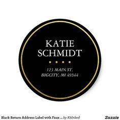 Black Round Return Address Label TEMPLATE Custom STICKERS - Round return address label template