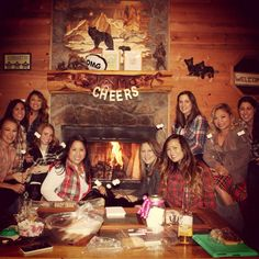 A glamping bachelorette bash complete with s'mores and a plaid party- sign us up!
