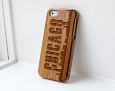 Custom iphone Bamboo case engraved Chicago Skyline $34.99