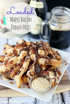 13 Over-the-Top Desserts Starring Donuts -- Loaded Maple Bacon Donut Fries -- Delish Mini Desserts, Just Desserts, Delicious Desserts, Dessert Recipes, Yummy Food, Breakfast Recipes, Healthy Food, Oreo Dessert, Oreo Trifle