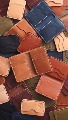 Last day to order in time for holiday delivery is December 12 Leather Wallet Pattern, Handmade Leather Wallet, Leather Card Wallet, Leather Gifts, Leather Keychain, Leather Diy Crafts, Leather Projects, Leather Craft, Custom Leather