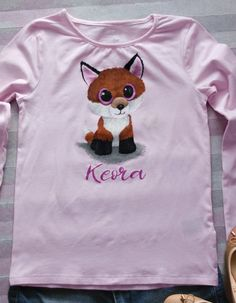 442dfae62 Girl Personalized Hand Painted T Shirt with Burnt Orange Baby Fox and Hot  Pink Gliter Paint Eyes, Forest Animal Tshirt, Custom Birthday Gift