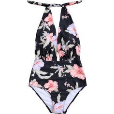 48d9e2510e Plunge Floral Backless Padded Swimwear ( 17) ❤ liked on Polyvore featuring  swimwear