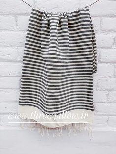 Black Cream Stripes Throw