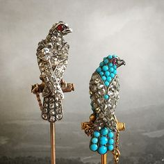 A 19th Century diamond stickpin in the form of a Hunting Falcon and a matching turquoise and diamond pin, both circa #1890