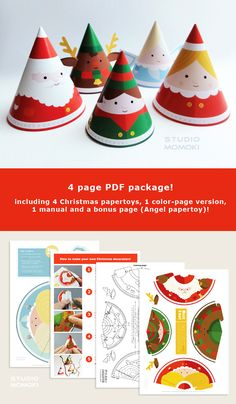 Make your own DIY paper toys christmas decoration. Buy your PDF package on Etsy! €2,50 / $3,47 - Design by: Studio Momoki -- #christmas #decoration #xmas #DIY #craft #crafts #momoki #holidays #navidad #PDF #etsy
