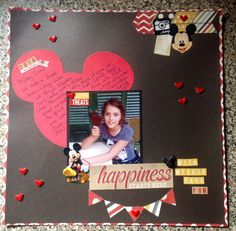 Happiness Starts Here..with Mickey Ears, Yum! - Scrapbook.com - Use cardstock mouse ears as a large journaling block.