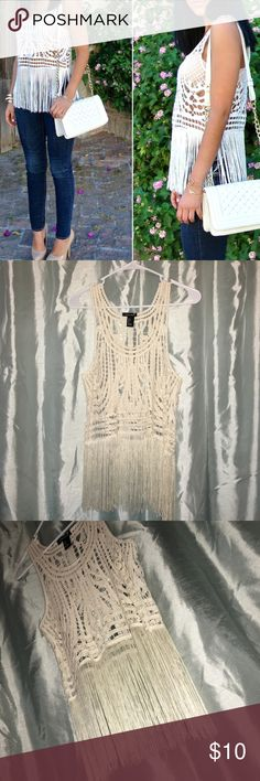 forever 21 cut out fringe tank beautiful white top from forever 21. Crochet cutout fringe tank. exact one in first and second photos and in perfect condition! i only wore once, no flaws! size small Forever 21 Tops Tank Tops