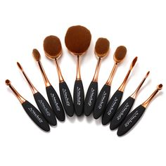 10 Piece Black and Gold Oval Brush Set - Brush - Make up augen Contour Makeup, Makeup Brush Set, Eye Makeup, Contouring, Weird Makeup, Gold Makeup, Drugstore Makeup, Oval Brush Set, Brush Sets