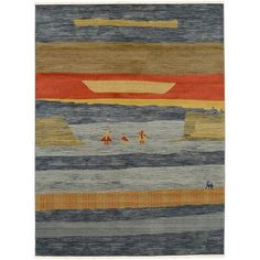 """World Menagerie Foret Noire Blue Area Rug Rug Size: 10'6"""" x 16'5"""""""
