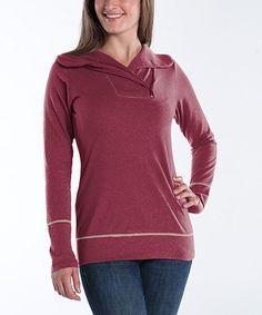 Look what I found on #zulily! Pomegranate Zip-Collar Camellia Sweater - Women #zulilyfinds