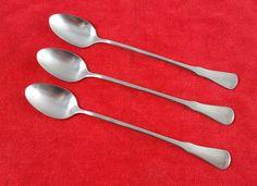 "3 Iced Tea Spoons Patrick Henry by Oneida Community Stainless Silverware 7.5"" #Oneida"