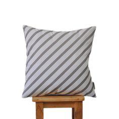 """Modern Striped Decorative Pillow, Nursery Pillow, Kids Pillow, Throw Cushion, Gray & White Monochrome 16"""" x 16"""""""