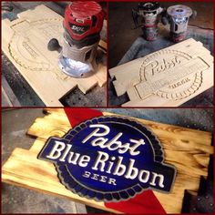 Pabst Blue Ribbon Beer Sign by Board2DeathWoodwork on Etsy