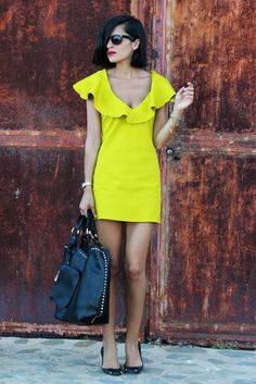 #neon yellow Bright day dress In Street Style
