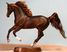 Khemosabi Dark Dappled Burgundy Chestnut w/Mohair Mane & Tail… Resin Sculpture, Horse Sculpture, All The Pretty Horses, Beautiful Horses, Bryer Horses, Painted Pony, Horse Crafts, Horse Stables, Equine Art