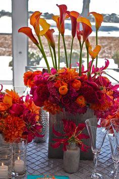 Wedding 2014 Hot pink and orange - calla lilies, dahlias, glorisa lilies. Unique Centerpieces, Centerpiece Decorations, Wedding Centerpieces, Orange Centerpieces, Calla Lily, Calla Lillies, Floral Arrangements, Flower Arrangement, Event Design