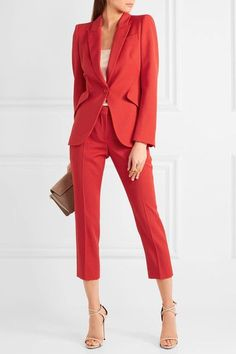 Alexander McQueen - Cropped Grain De Poudre Wool Straight-leg Pants - Red - IT40