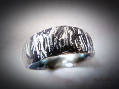 Mens Rustic Silver Carved Wedding Band, Wedding Ring. Tree Bark Wedding Band. Sterling Silver. Unique Wedding Bands. via Etsy