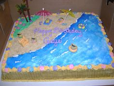 Beach Birthday slab cake my sisiter and i decorated for our grandmothers birthday. iced in buttercream all fondant decorations and. 13 Birthday Cake, 13th Birthday, Birthday Celebration, Birthday Parties, Graham Cake, Slab Cake, Grandmother Birthday, Teddy Grahams, Luau