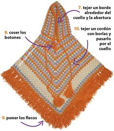 Paso a paso: poncho granny stripes con capucha tejido a crochet English subtitles: crochet granny stripes hooded poncho