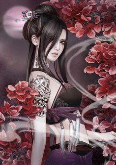 Art Geisha, Geisha Drawing, Art Anime, Manga Art, Geisha Tattoos, Art Asiatique, 3d Fantasy, Dream Fantasy, Fantasy Artwork