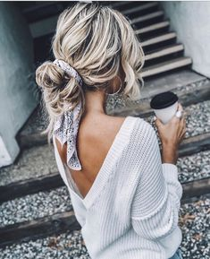 it - Flechtfrisuren - braided Hair - Haare - Frisur Ideen Scarf Hairstyles, Pretty Hairstyles, Casual Hairstyles For Long Hair, Messy Bun Hairstyles, Updo Hairstyle, Hairstyle Ideas, Hairstyles With Headbands, Medium Length Hairstyles, Casual Hair Updos