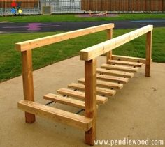 Bespoke street furniture clatter bridge Plus other cool wood ideas (diy kids christmas gifts ugg boots) Kids Outdoor Play, Outdoor Play Spaces, Kids Play Area, Backyard For Kids, Backyard Projects, Outdoor Projects, Outdoor Fun, Play Areas, Children's Playground Equipment