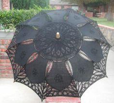 "Lace-Parasols: ""Sarah Elizabeth"" Black Parasol"