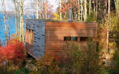 Toronto based Taylor Smyth Architects create poetry or so they say. Buildings relate intimately to their surroundings, embracing the site, celebrating the vista. The Sunset Cabin at Lake Simco, Ontario is a simple building and simply beautiful. A one bedroom cabin, a private retreat in the woods, a bunkie, a getaway that looks to the setting sun for inspiration.