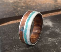 Wood Lined Wedding Rings w/ patina copper, elk antler, & turquoise inlays - handmade