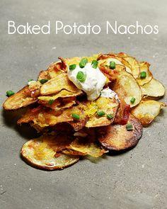 Baked Potato Nachos 21 Potato Recipes That Will Ruin You For Anything Else Potato Dishes, Potato Recipes, Appetizer Recipes, Appetizers, Dessert Recipes, Potato Nachos, Making Baked Potatoes, Great Recipes, Favorite Recipes