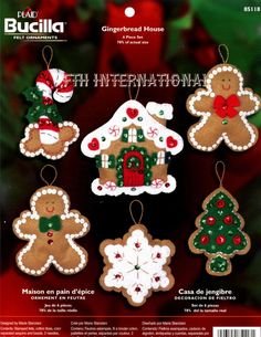 Bucilla Gingerbread House 6 Pce Felt by FTHInternational on Etsy Christmas Stocking Kits, Christmas Tree Cookies, Felt Christmas Ornaments, Christmas Stockings, Christmas Crafts, Gnome Ornaments, Xmas, Christmas Music, 3d Home
