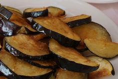 Deep fried in olive oil aubergines
