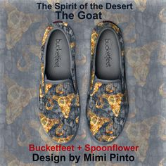 art on canvas shoes the denim look spirit of the mountain - the goat by Mimi Pinto