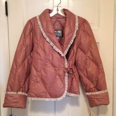 Company Store Pink Eyelet Lace-edged Quilted Down Bed Jacket P #TheCompanyStore #BedJacketRobeJacket