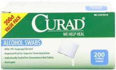 Amazon.com: Curad Alcohol Swabs Antiseptic Wipes, 200 Count: Health & Personal Care