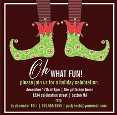 oh what fun christmas party holiday invitation