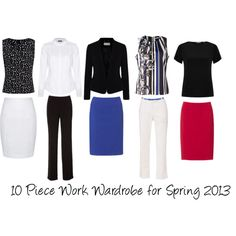 10 pieces, existing jackets and accessories for Spring. A white t-shirt or top extends the options