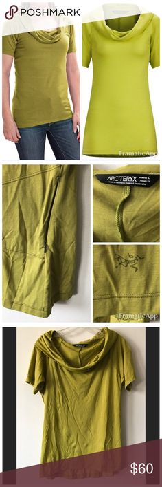 Arc'Teryx A2B Cowl NeckTop size L pristine! Arc'Teryx Women's A2B cowl neck Top Size L   Pristine condition!  Engineered for urban commuters, the Arc'teryx A2B shirt boasts performance features like moisture-managing wool & a hidden stash pocket w/office-ready style & a flattering cut. * Lightweight & stretchy wool blend w/a hint of sheen * Drapy cowl neck * Feminine hourglass shape w/a droptail hem for added coverage * Hidden stash pocket at rear-right side * Short sleeves * Fabric: 58%…