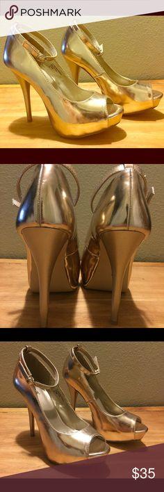 Metallic Gold High Heels w/ Ankle Straps Description: Diba, size 8, color metallic gold, platform high heels with ankle straps! These are striking and sexy, perfect for catching eyes! Diba Shoes Heels