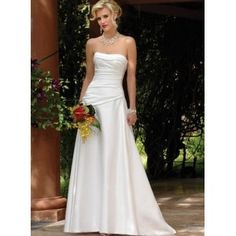 Cuff Strapless Dropped Diagonal Waistline A-Line Satin Wedding Dress