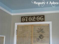 Anniversary date sign above doorway in Master