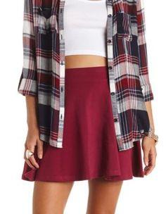 high-waisted solid cotton skater skirt