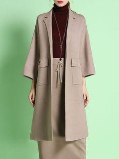StyleWe - Apricot Elegant Shift Lapel Pockets Coat