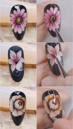 Pin by Marlena Nowak on Kwieciste paznokcie [Video] in 2020 Rose Nail Art, Rose Nails, Flower Nail Art, Gel Nail Art, Gel Nails, Nail Art Designs Videos, Nail Design Video, Nail Art Videos, 3d Nail Designs