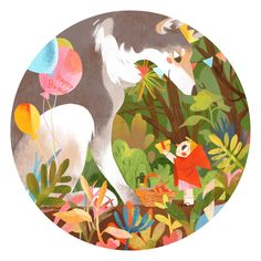 Happy Birthday, Mr Wolf! Super-cute #illustration #art by Yusa Cui