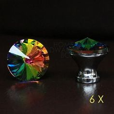 crystal+glass+drawer+knobs+kitchen+cabinet+handle+pulls+multi+color+rainbow+6+pc